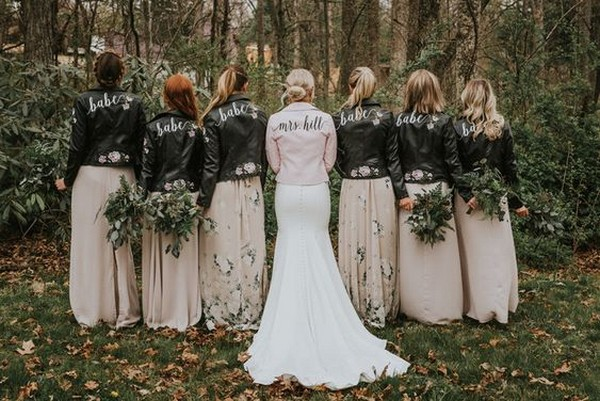 custom leather jackets for bride and bridesmaids