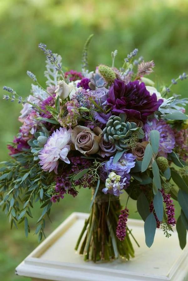 dahlias roses lavender and succulents wedding bouquet