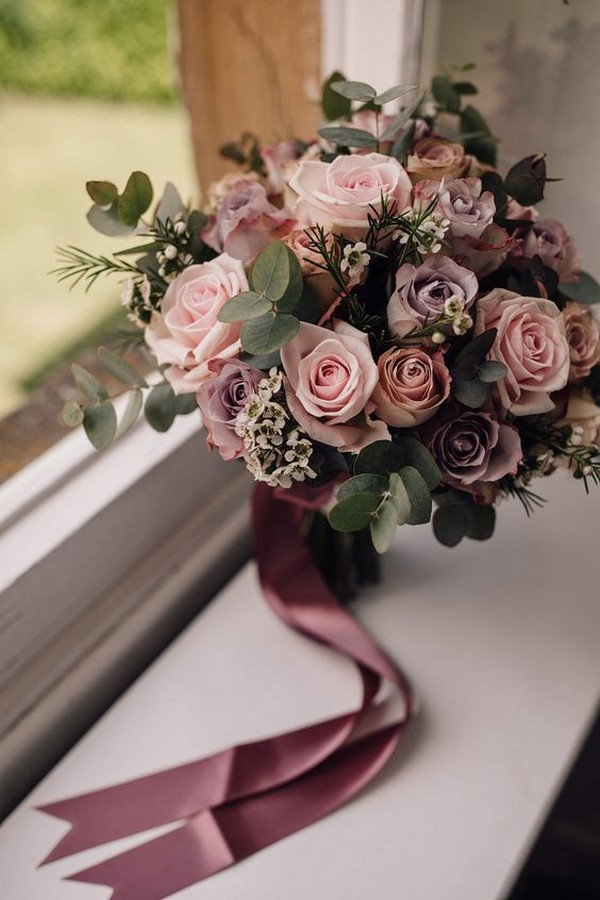 dusty purples and pinks fall wedding bouquet ideas