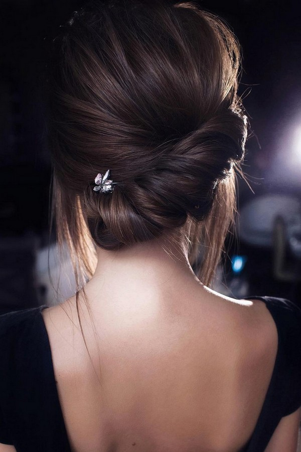 elegant braided low bun updo wedding hairstyle