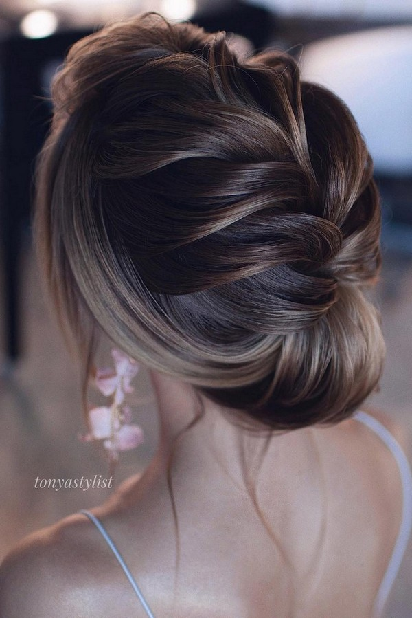 elegant braided updo wedding hairstyle for 2019