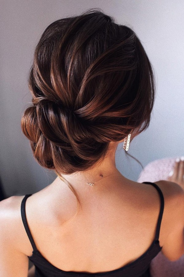 elegant low bun updo wedding hairstyle