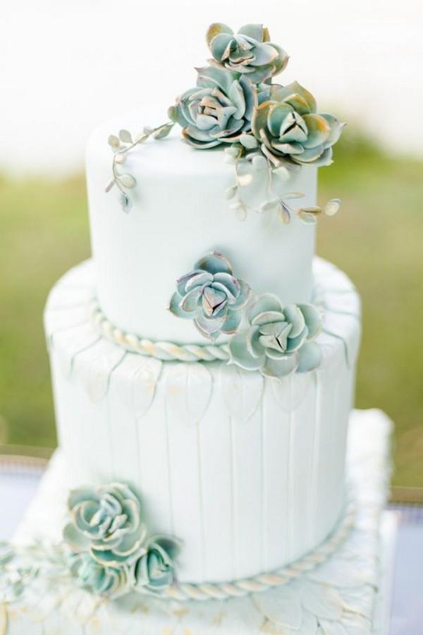elegant succulents decorated wedding cake