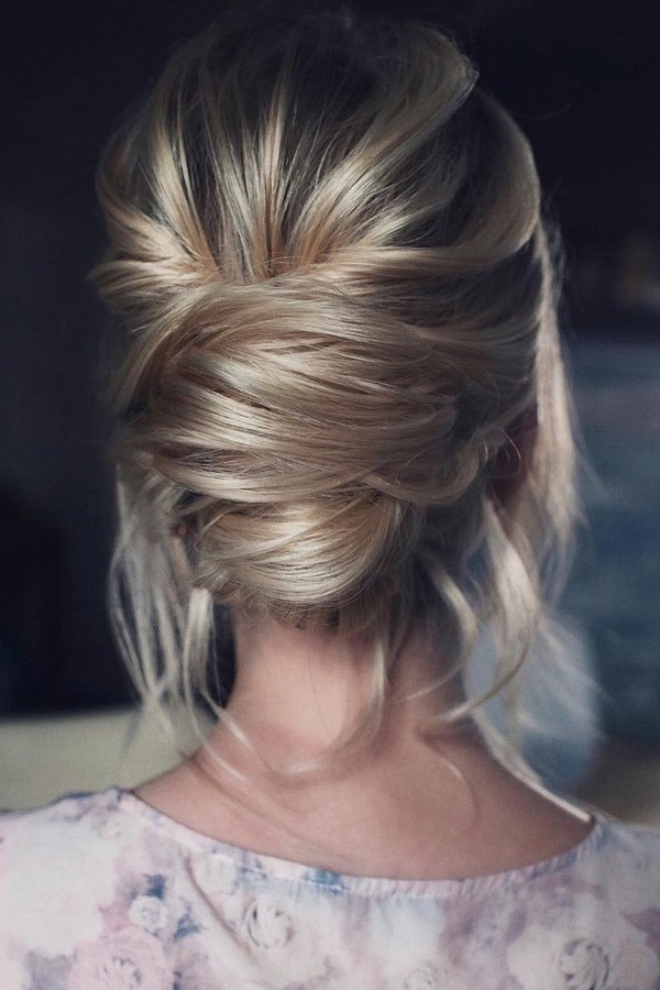 elegant updo low bun wedding hairstyle for 2019