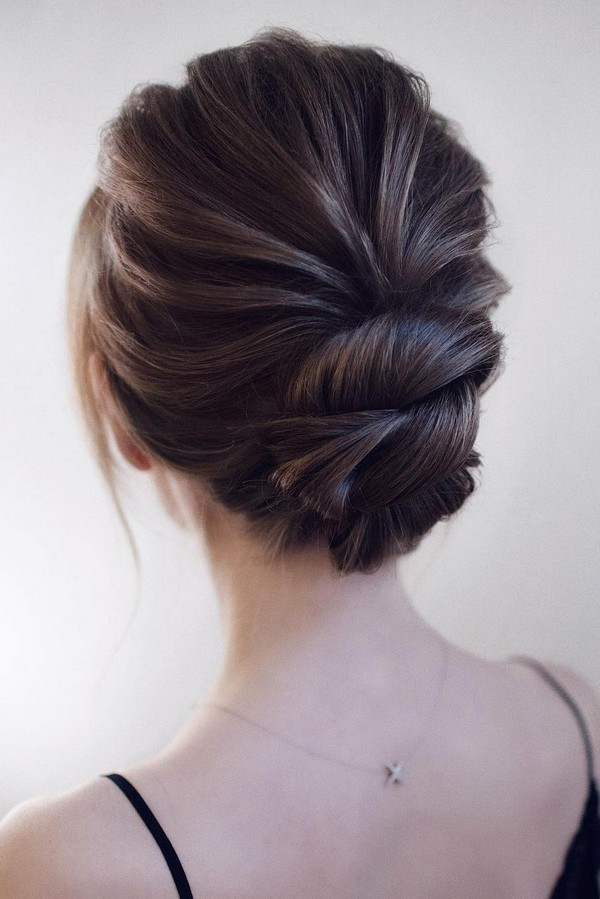 elegant updo low bun wedding hairstyle
