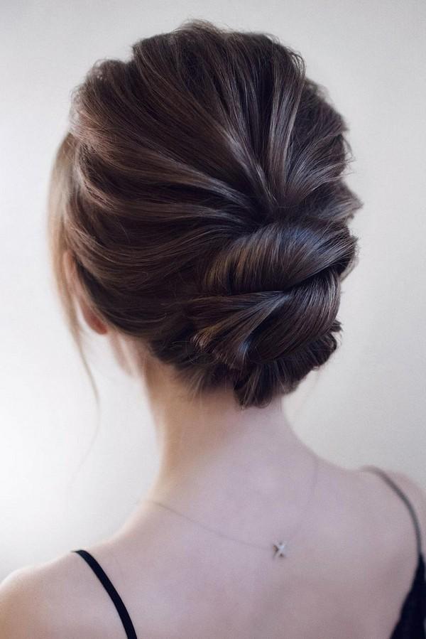 elegant updo low bun wedding hairstyle