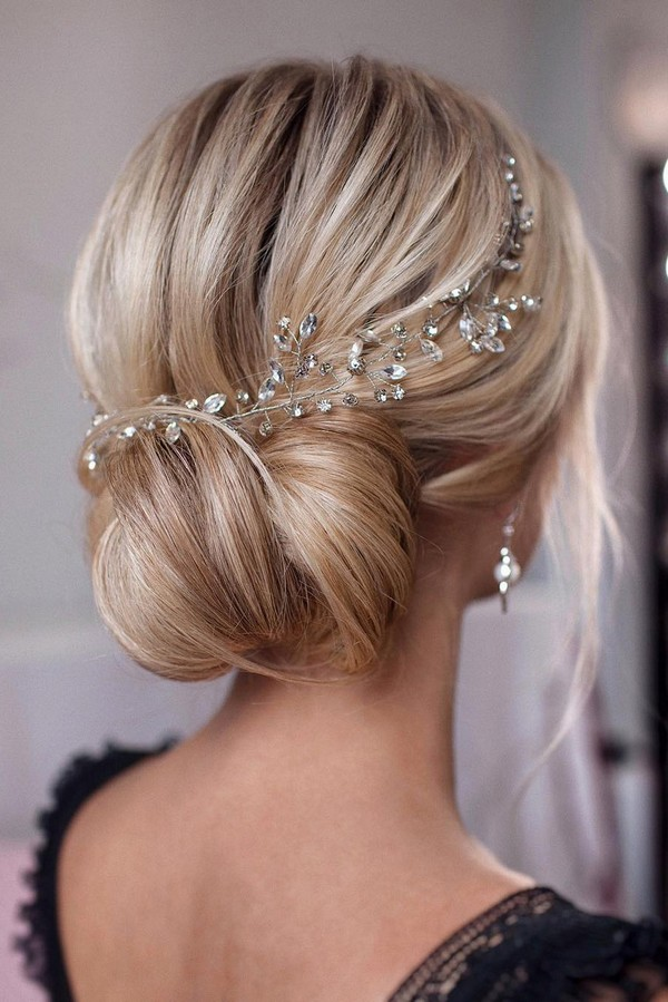 elegant updo wedding hairstyle with headpiece