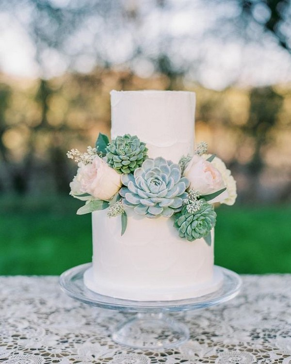 elegant wedding cake ideas with succulents and floral