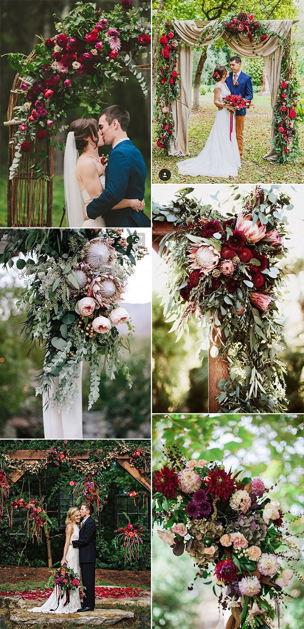 florals decorated fall wedding arches