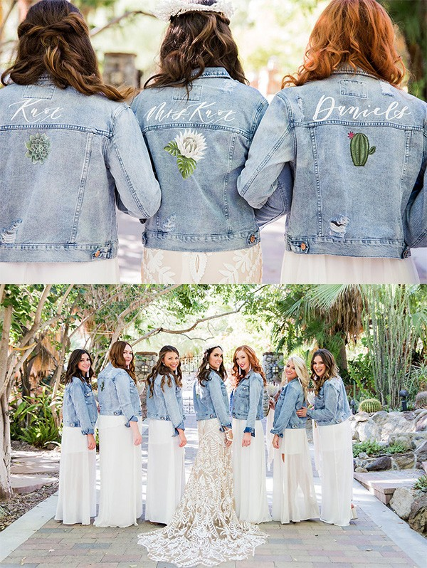 hand painted custom jean jackets for bridal party 2019 trending