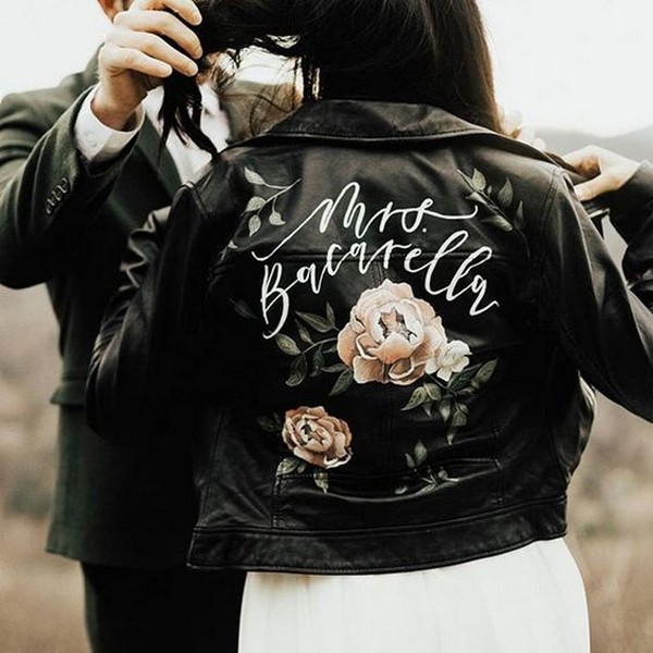 hand painted leather jacket for bride