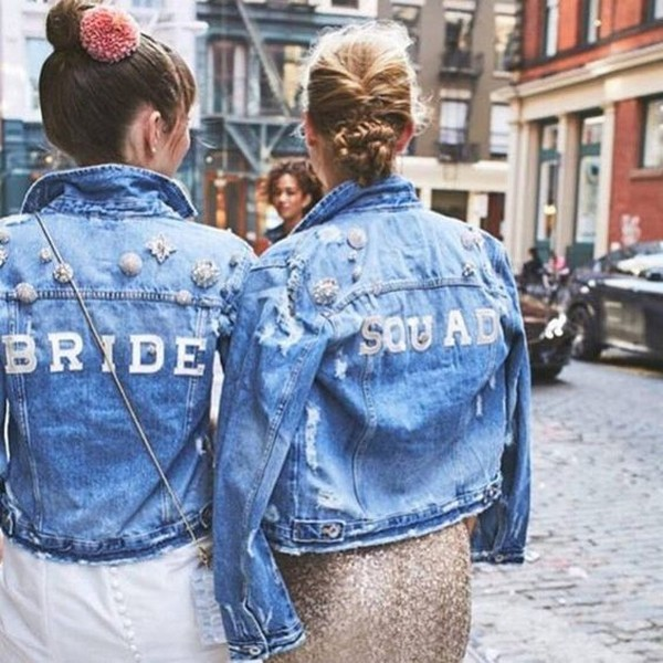 jean jackets for bride and bridesmaids