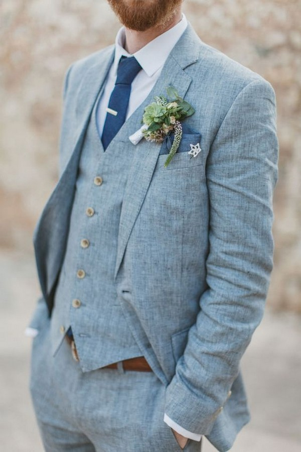 light blues groom wedding suit