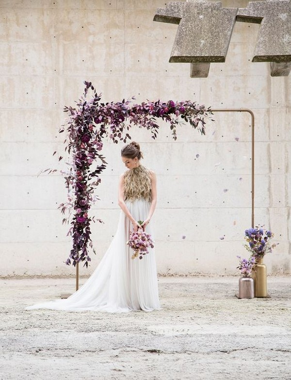modern industrial purple wedding arch ideas