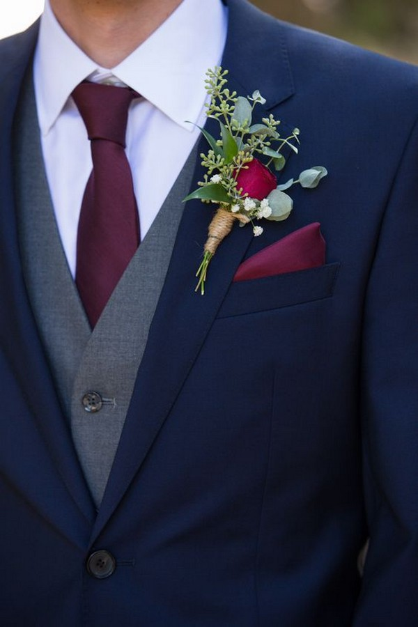 navy blue and burgundy groom wedding suit ideas