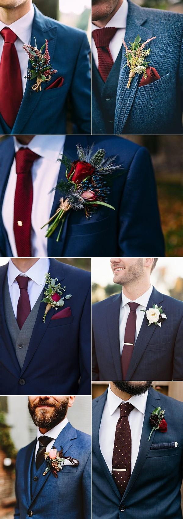 navy blue and burgundy wedding ideas grooms look