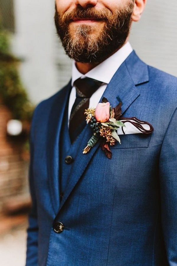 navy blue groom suit wedding ideas