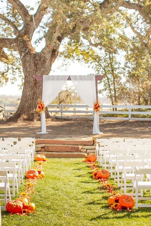 outdoor fall wedding ceremony decoration ideas
