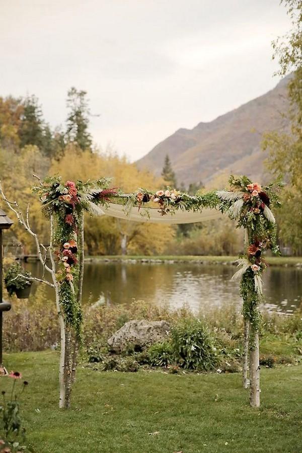 outdoor rustic fall wedding altar ideas