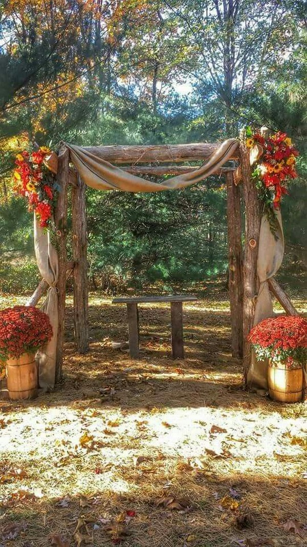 outdoor rustic fall wedding arch ideas