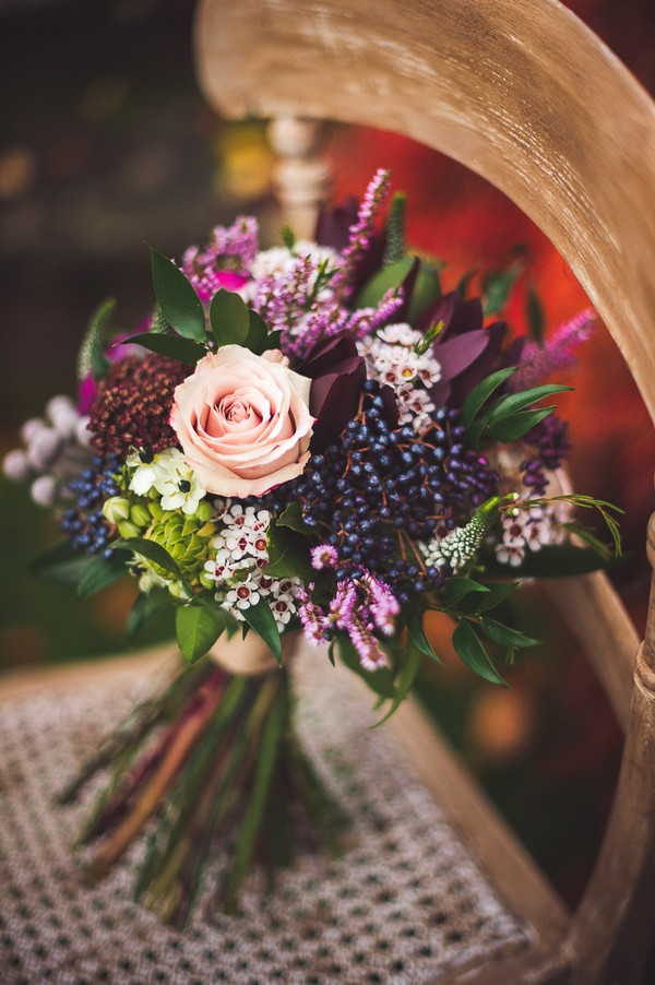 purple and blush fall wedding bouquet
