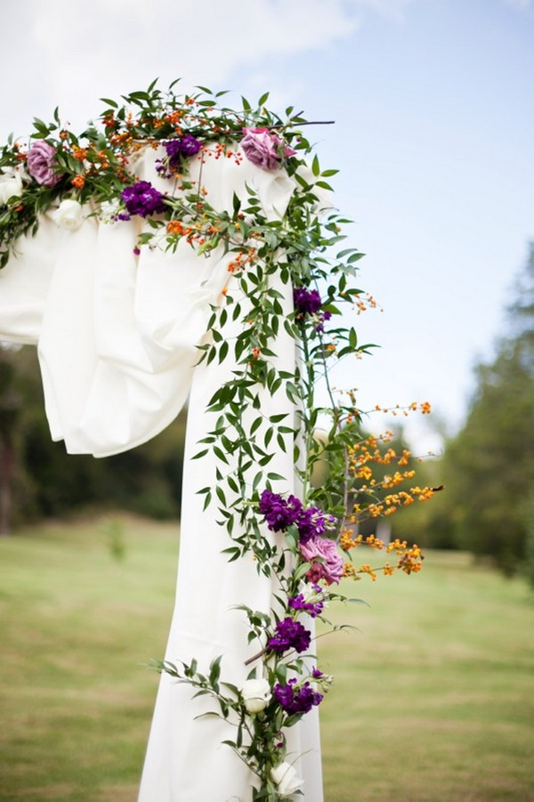 purple and greenery wedding arch decorations