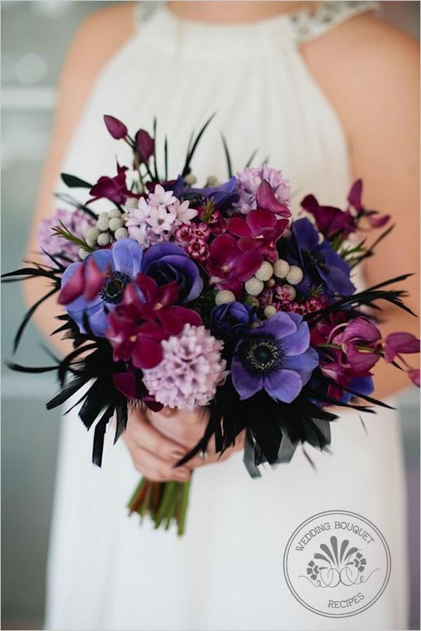purple and lavender wedding bouquet ideas
