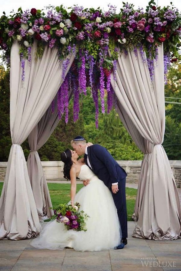 purple wedding alter decoration ideas