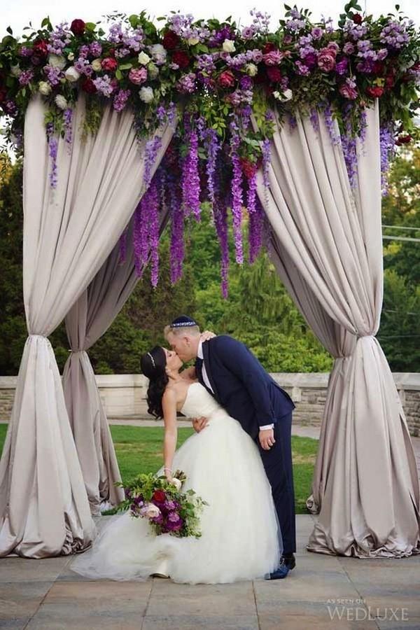purple wedding alter decoration ideas