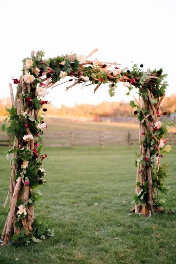Rustic Wedding Arch.Rustic Wedding Arch Ideas With Floral And Branches Emmalovesweddings