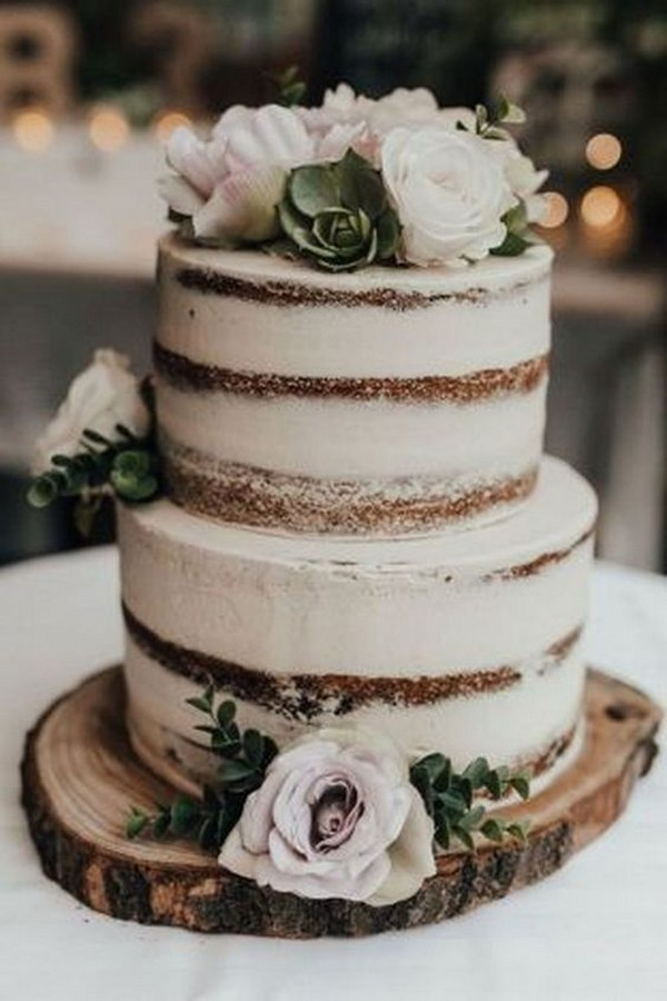 semi naked rustic wedding cake with succulents