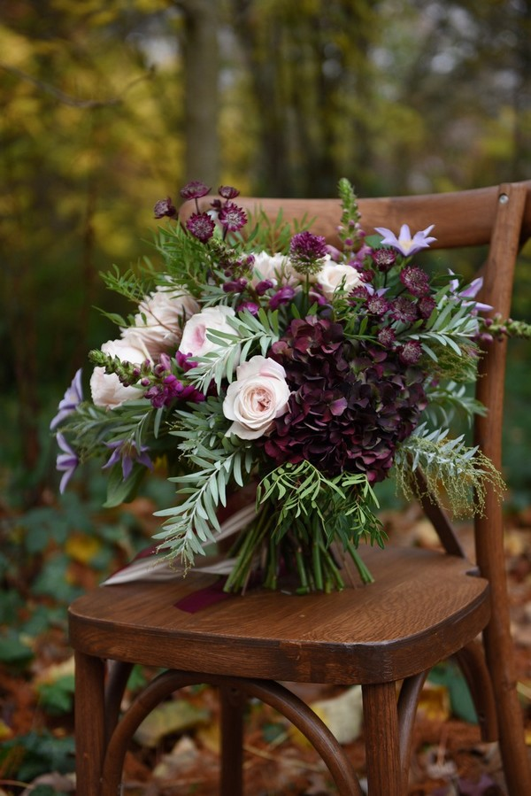 shades of purple and greenery chic wedding bouquet