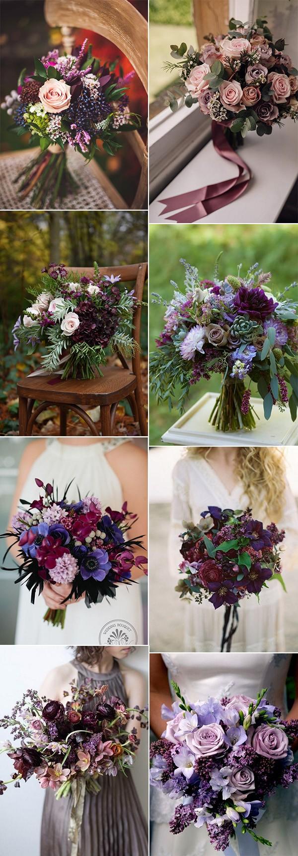 shades of purple fall wedding bouquets