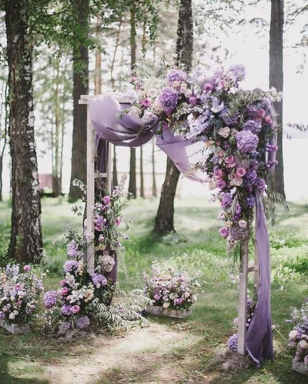 shades of purple wedding arch ideas