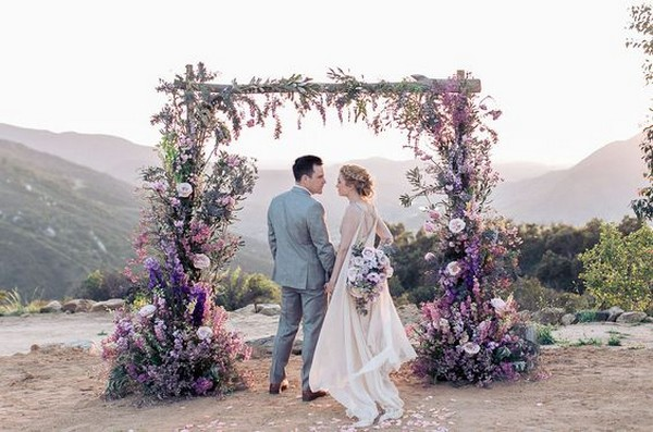 shades of purple wedding arch ideas