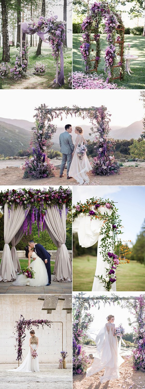 shades of purple wedding arches