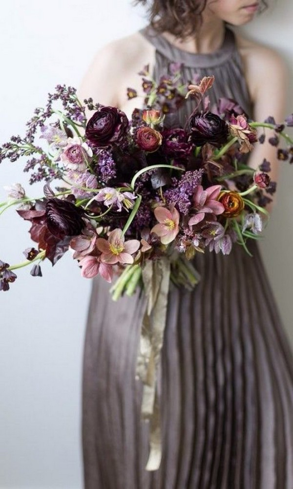 shades of purple wedding bouquets