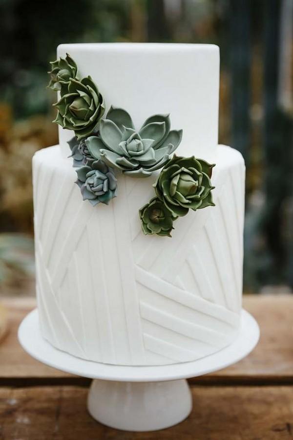 simple elegant succulents wedding cake