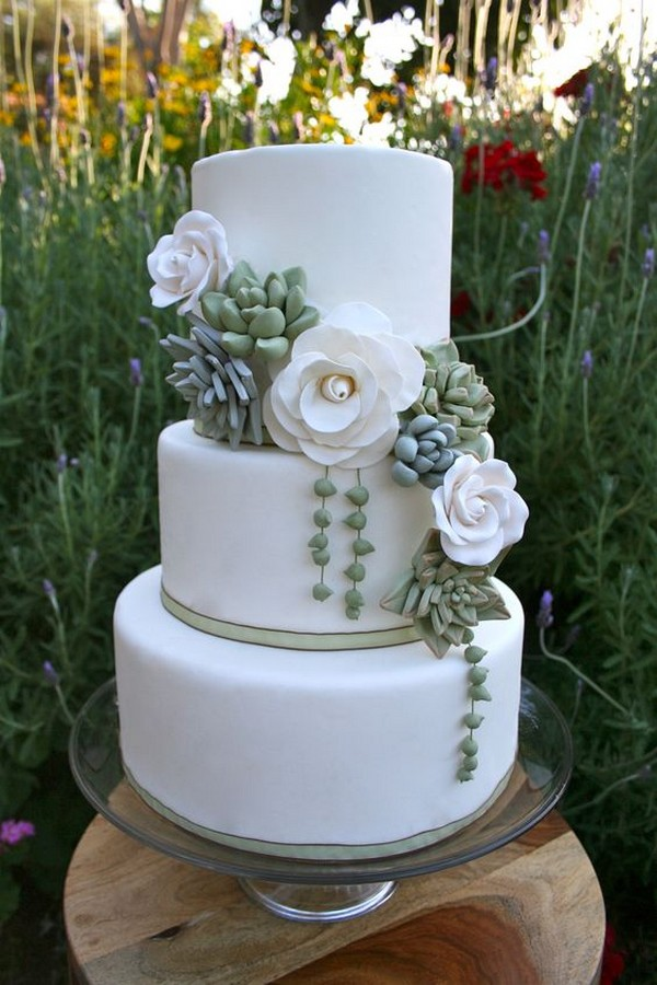 simple elegant wedding cake with succulents