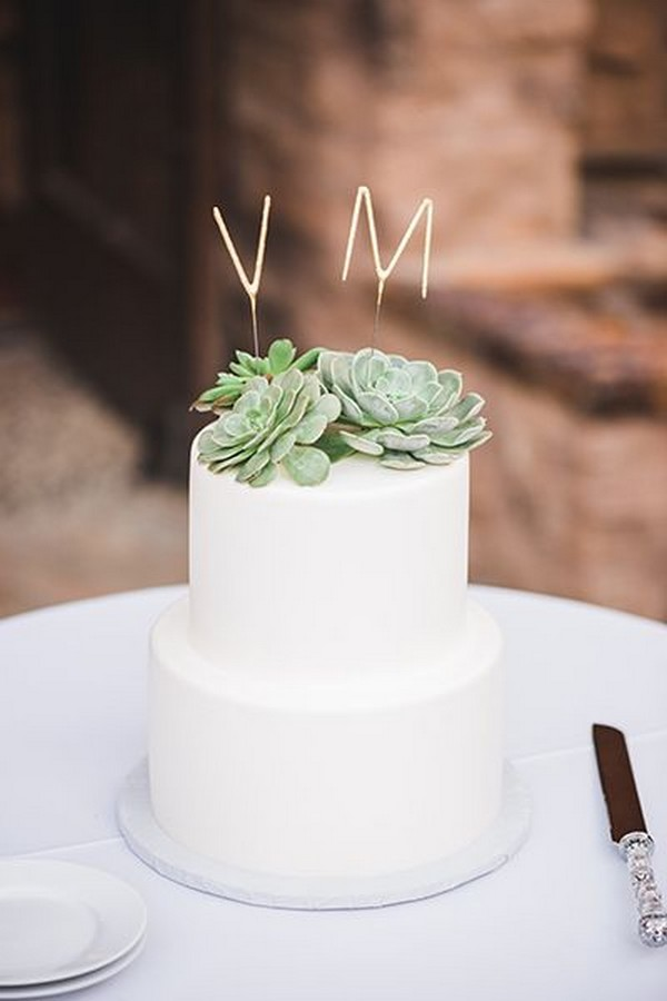 simple succulents wedding cake with monogram topper