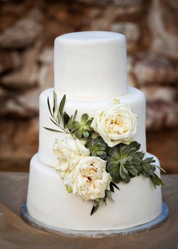 simple wedding cake with succulents and floral
