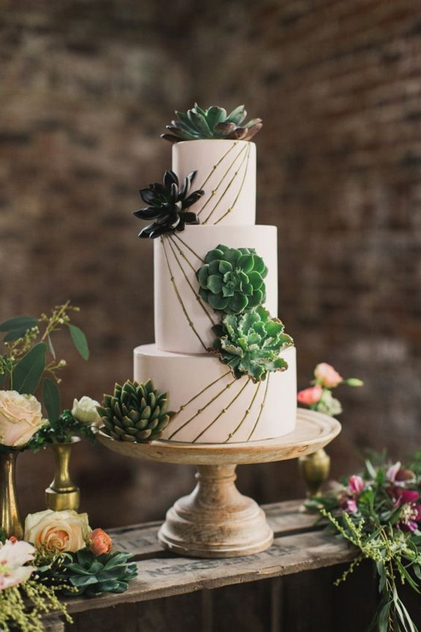 succulent wedding cake with lines