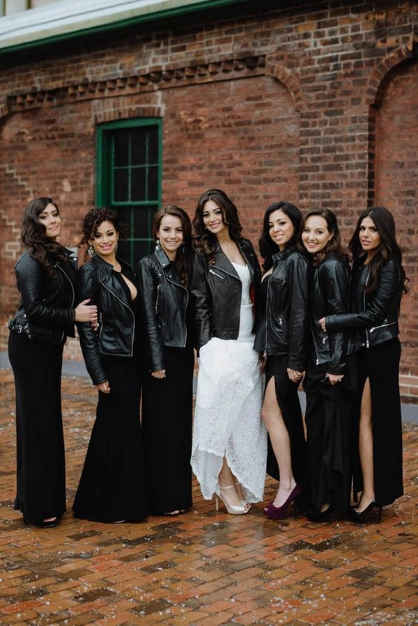 trending bridal party look with leather jackets