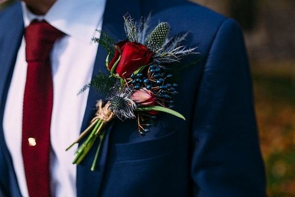 trending burgundy and navy wedding groom suit ideas