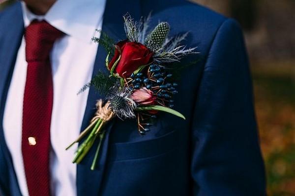 trending burgundy and navy wedding groom suit ideas