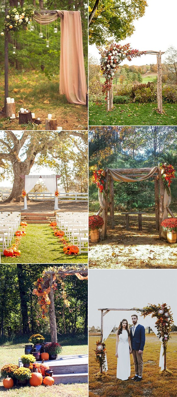 trending fall wedding arch and altar decoration ideas