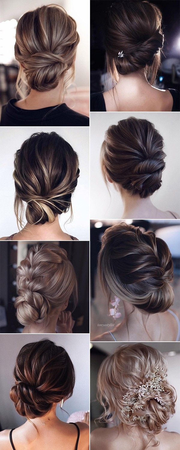 trending low bun updo wedding hairstyles