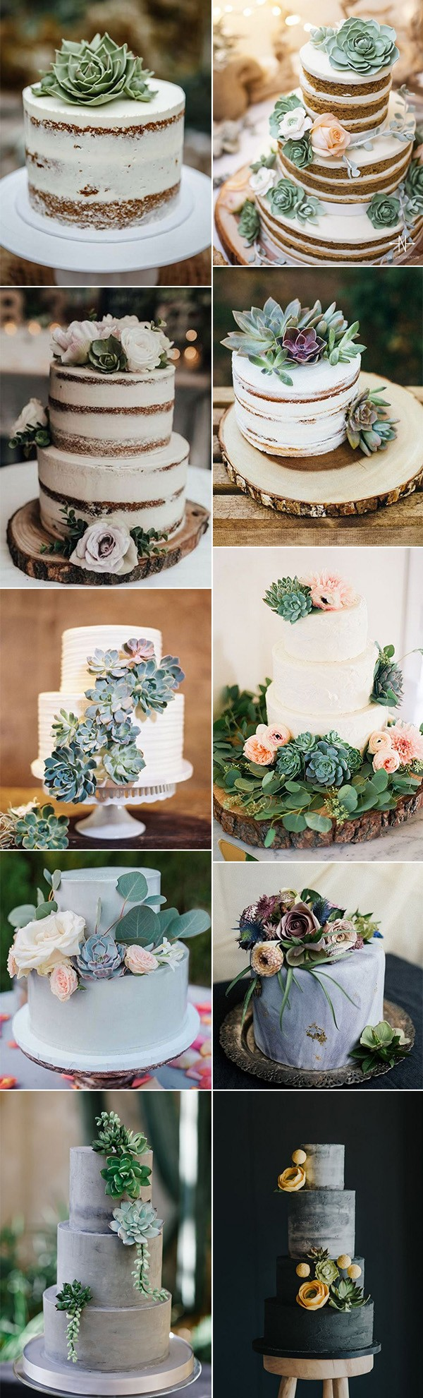 trending wedding cakes with succulents