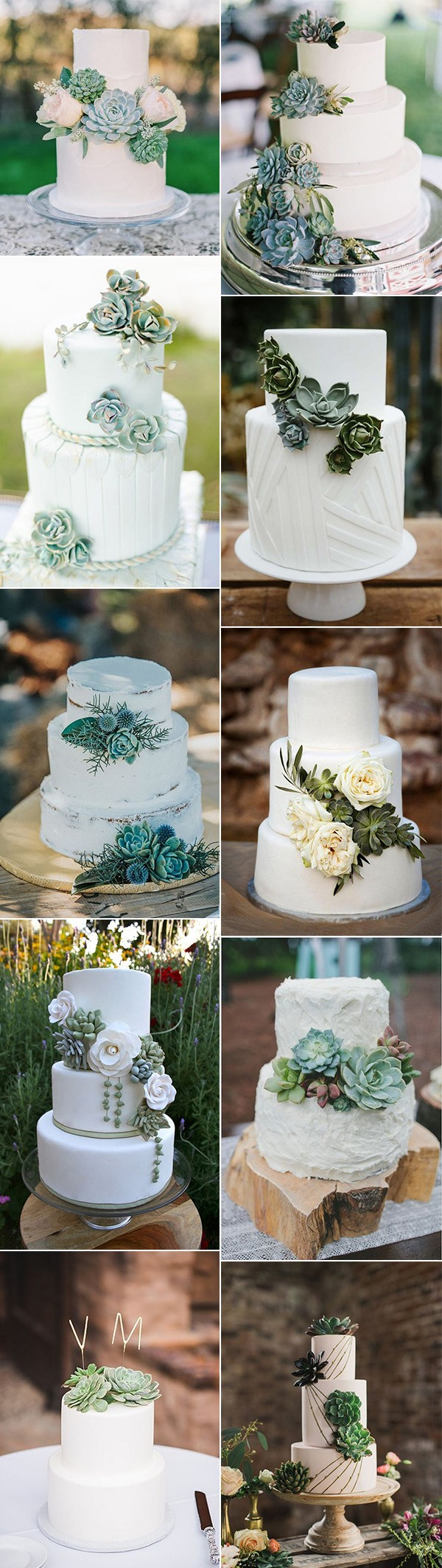 trending white and green wedding cakes with succulents