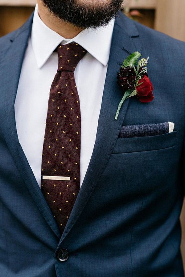 unique groom wedding suit with navy and burgundy